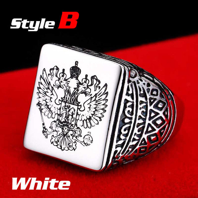 Rings for Men - Beier polished Stainless Steel double eagle-ring-Panoramic Art-7-B style white-Love My Husband Shop