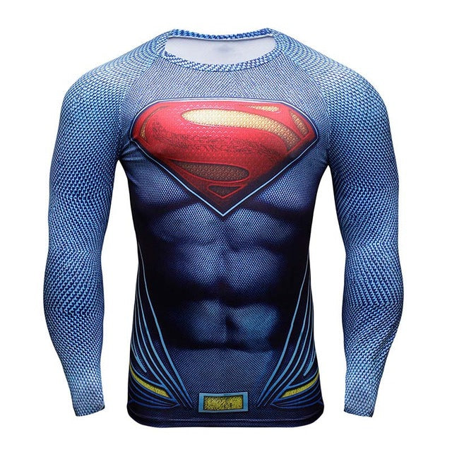 Superman 3D Printed Compression T-shirts-T-Shirts-Love My Husband Shop-001-S-Love My Husband Shop