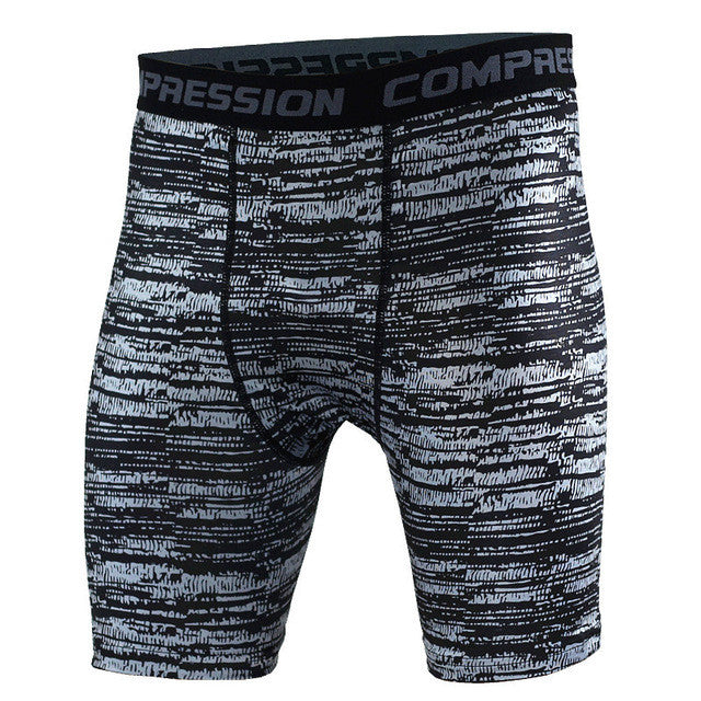 Tight Elastic Camouflage Compression Shorts-shorts-Love My Husband Shop-gray stripe-L-Love My Husband Shop