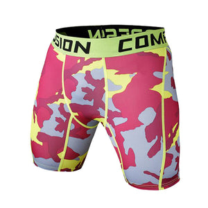 Tight Elastic Camouflage Compression Shorts-shorts-Love My Husband Shop-red yellow-L-Love My Husband Shop