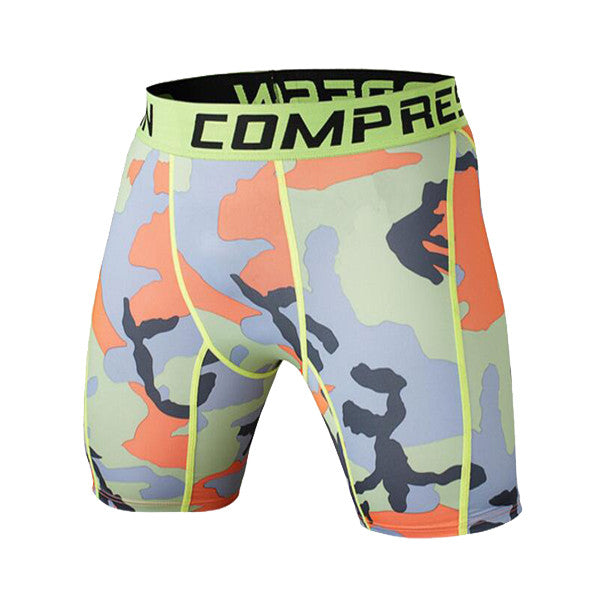 Tight Elastic Camouflage Compression Shorts-shorts-Love My Husband Shop-green orange-L-Love My Husband Shop