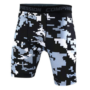 Tight Elastic Camouflage Compression Shorts-shorts-Love My Husband Shop-black white-L-Love My Husband Shop