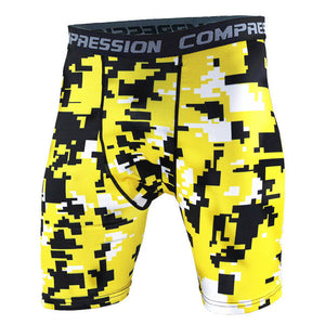 Tight Elastic Camouflage Compression Shorts-shorts-Love My Husband Shop-yellow-L-Love My Husband Shop
