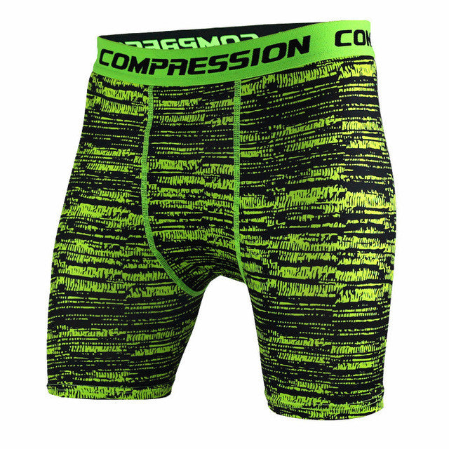 Tight Elastic Camouflage Compression Shorts-shorts-Love My Husband Shop-green stripe-L-Love My Husband Shop
