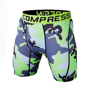 Tight Elastic Camouflage Compression Shorts-shorts-Love My Husband Shop-green blue-L-Love My Husband Shop