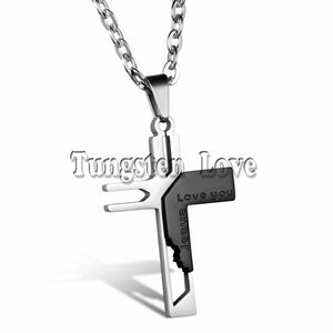 "Men's ""Love you Jesus"" Stainless Steel Cross Pendant Necklace-Necklace-Panoramic Art-black-China-Love My Husband Shop"