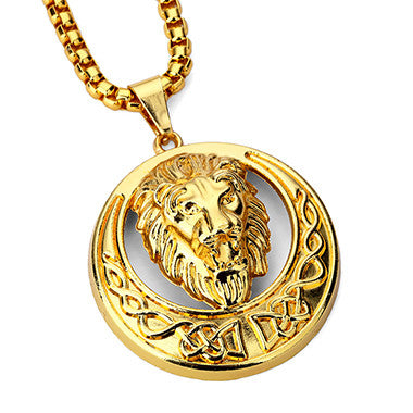 Pendant Necklace with Lion Head-Necklace-Panoramic Art-Love My Husband Shop