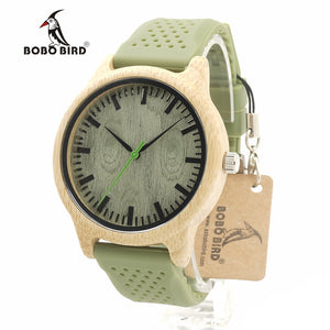 Watches for men - Bamboo Wood with Soft Green Silicone Straps-watch-Bobo Bird-green-Love My Husband Shop