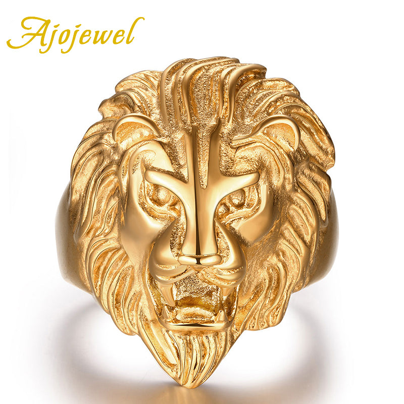 Ajojewel Brand Carved Lions Head. Stainless Steel Gold-colored Lion Rings For Men-ring-Love My Husband Shop-Love My Husband Shop