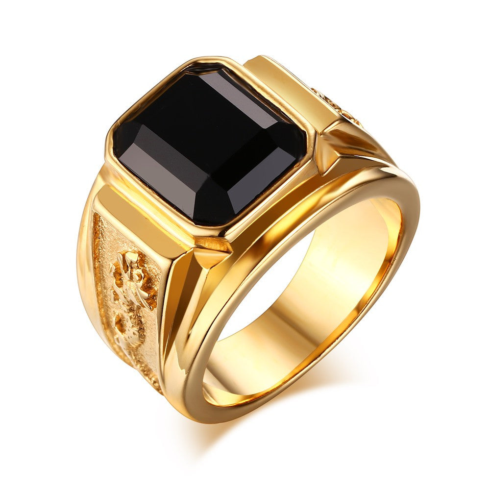 Signet Rings for Men - Gold Plated Stainless Steel with Black Stone-ring-Panoramic Art-Love My Husband Shop