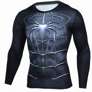 Spiderman Compression Long Sleeve T-shirt-T-Shirts-Love My Husband Shop-Love My Husband Shop
