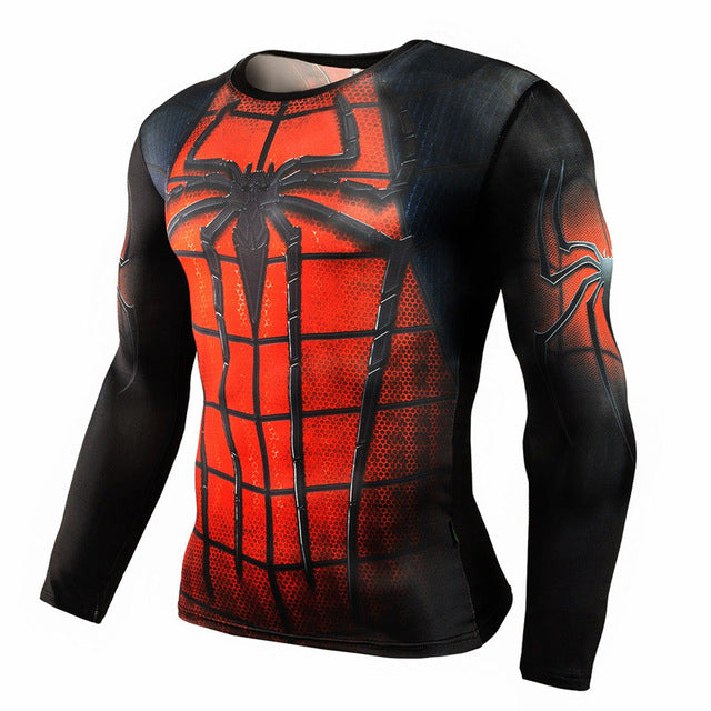Spiderman Compression Long Sleeve T-shirt-T-Shirts-Love My Husband Shop-TC28-S-Love My Husband Shop