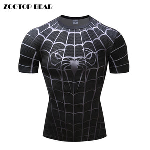 Spiderman 3D Print Compression fitness T-shirts-T-Shirts-Love My Husband Shop-Love My Husband Shop