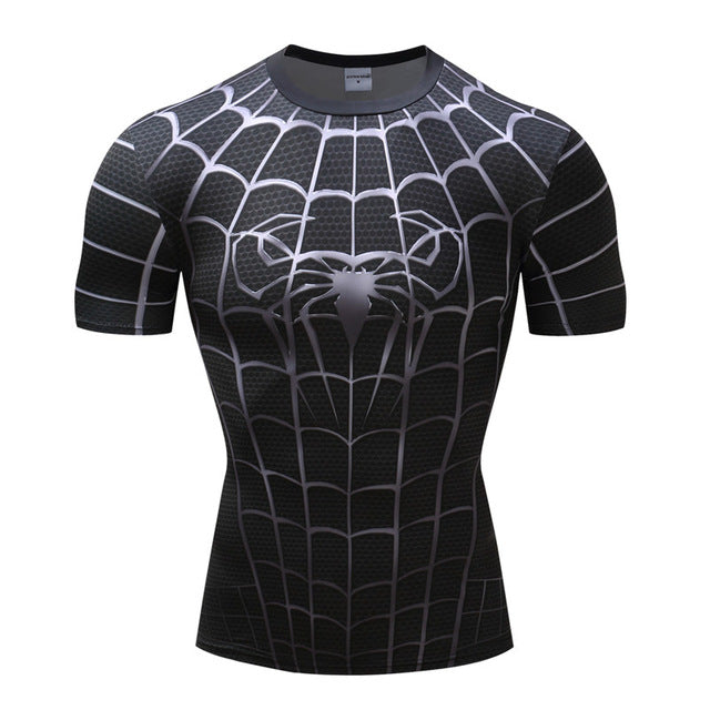 Spiderman 3D Print Compression fitness T-shirts-T-Shirts-Love My Husband Shop-AF1022-L-Love My Husband Shop