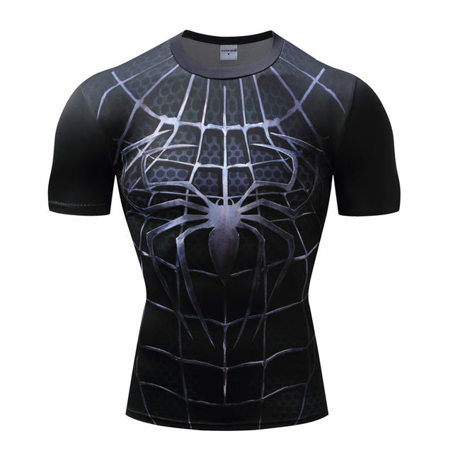 Spiderman 3D Print Compression fitness T-shirts-T-Shirts-Love My Husband Shop-AF1023-L-Love My Husband Shop