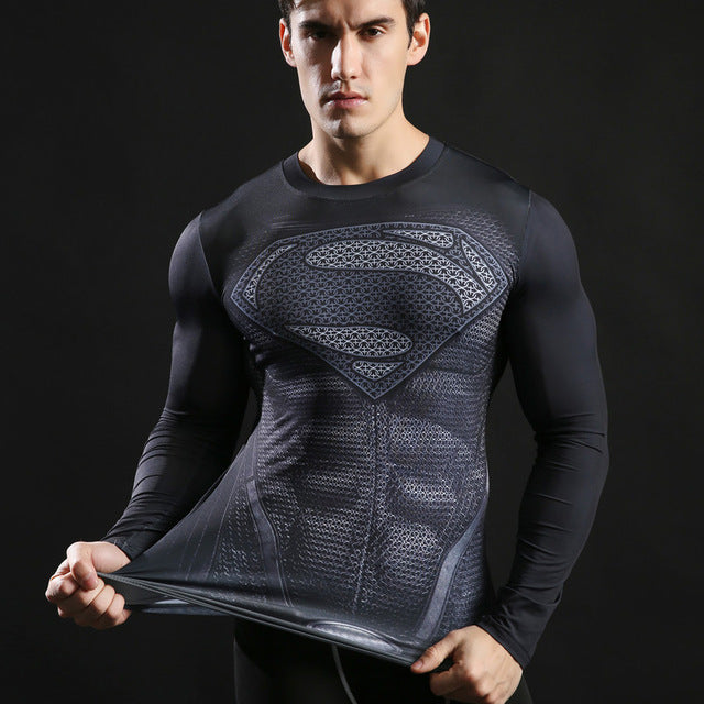 Superman Compression Top Fitness T-shirts-T-Shirts-Love My Husband Shop-AF561-L-Love My Husband Shop