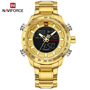 NAVIFORCE Luxury Brand Men's Sport Watch. Gold Quartz LED Waterproof Military Watches.-watch-Men Fit Beyond 40-Love My Husband Shop
