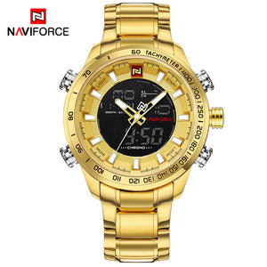 NAVIFORCE Luxury Brand Men's Sport Watch. Gold Quartz LED Waterproof Military Watches.-watch-Men Fit Beyond 40-Gold-Love My Husband Shop