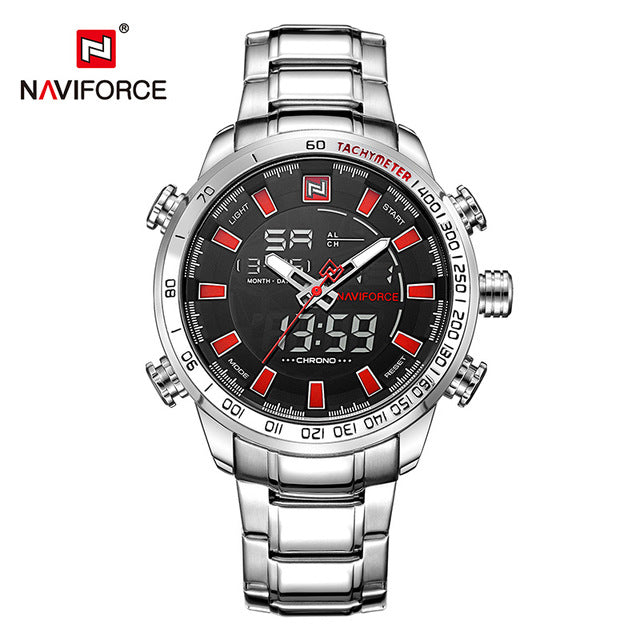 NAVIFORCE Luxury Brand Men's Sport Watch. Gold Quartz LED Waterproof Military Watches.-watch-Men Fit Beyond 40-Silver Red-Love My Husband Shop