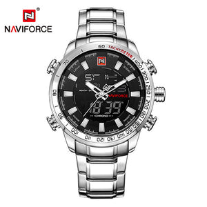 NAVIFORCE Luxury Brand Men's Sport Watch. Gold Quartz LED Waterproof Military Watches.-watch-Men Fit Beyond 40-Silver Black-Love My Husband Shop