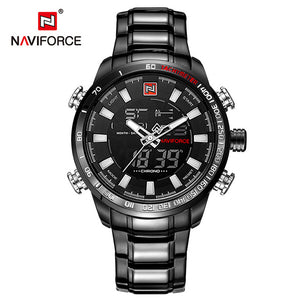 NAVIFORCE Luxury Brand Men's Sport Watch. Gold Quartz LED Waterproof Military Watches.-watch-Men Fit Beyond 40-Black White-Love My Husband Shop