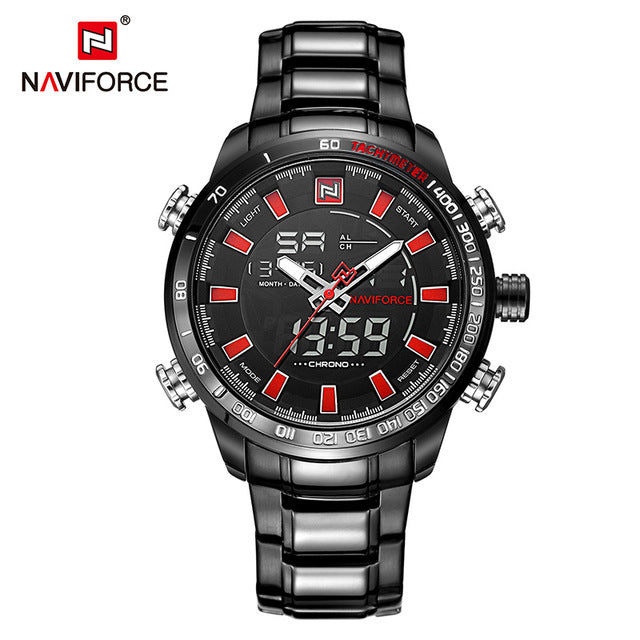 NAVIFORCE Luxury Brand Men's Sport Watch. Gold Quartz LED Waterproof Military Watches.-watch-Men Fit Beyond 40-Black Red-Love My Husband Shop