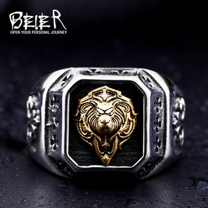 Gold Lion Head Rings. Stainless Steel ring of top quality.-ring-Love My Husband Shop-Love My Husband Shop