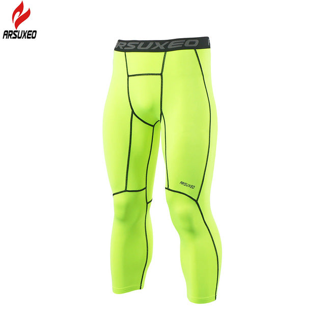 New Men's Running Compression Leggings-compression pants-Love My Husband Shop-Green-M-Love My Husband Shop