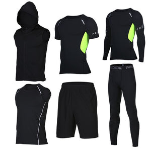 Quick Dry Men's Running 6 piece/set Compression Sports Suits-sportswear-Love My Husband Shop-17-S-Love My Husband Shop
