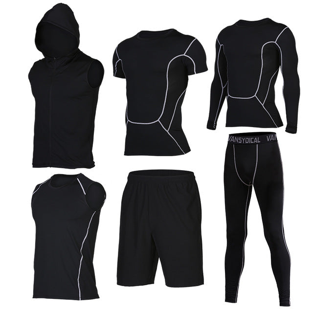 Quick Dry Men's Running 6 piece/set Compression Sports Suits-sportswear-Love My Husband Shop-14-S-Love My Husband Shop
