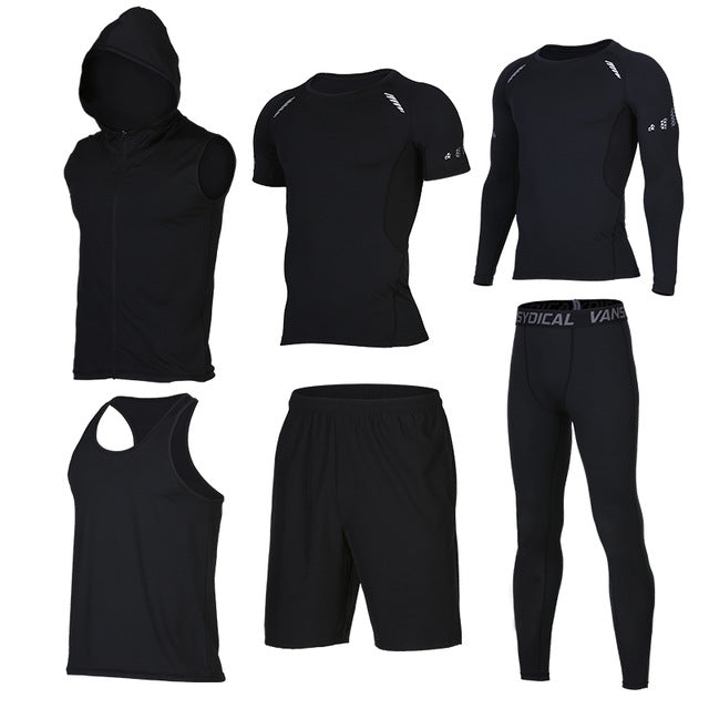 Quick Dry Men's Running 6 piece/set Compression Sports Suits-sportswear-Love My Husband Shop-4-S-Love My Husband Shop