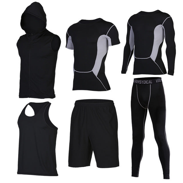 Quick Dry Men's Running 6 piece/set Compression Sports Suits-sportswear-Love My Husband Shop-3-S-Love My Husband Shop