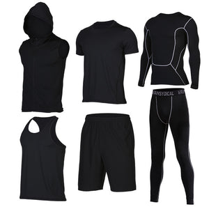 Quick Dry Men's Running 6 piece/set Compression Sports Suits-sportswear-Love My Husband Shop-9-S-Love My Husband Shop