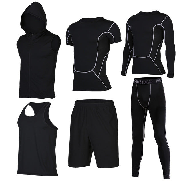 Quick Dry Men's Running 6 piece/set Compression Sports Suits-sportswear-Love My Husband Shop-2-S-Love My Husband Shop