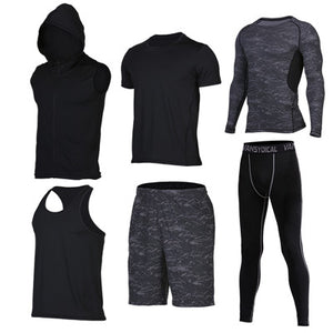Quick Dry Men's Running 6 piece/set Compression Sports Suits-sportswear-Love My Husband Shop-12-S-Love My Husband Shop