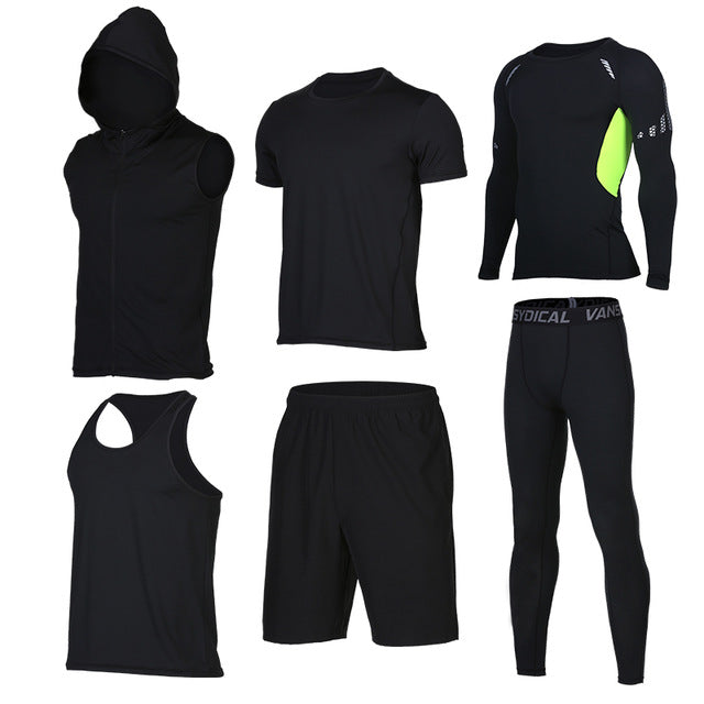 Quick Dry Men's Running 6 piece/set Compression Sports Suits-sportswear-Love My Husband Shop-11-S-Love My Husband Shop