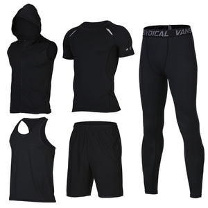 Quick Dry Men's Running 6 piece/set Compression Sports Suits-sportswear-Love My Husband Shop-21-S-Love My Husband Shop