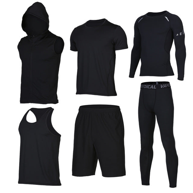 Quick Dry Men's Running 6 piece/set Compression Sports Suits-sportswear-Love My Husband Shop-10-S-Love My Husband Shop