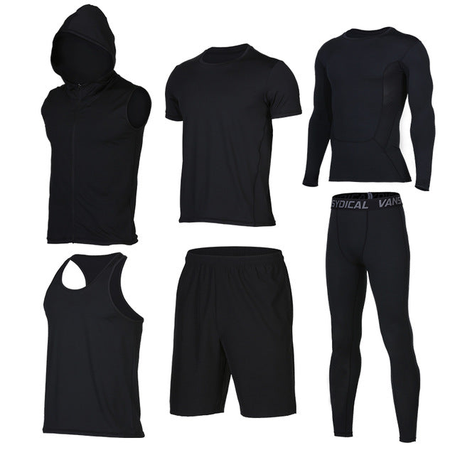 Quick Dry Men's Running 6 piece/set Compression Sports Suits-sportswear-Love My Husband Shop-8-S-Love My Husband Shop