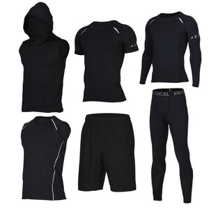 Quick Dry Men's Running 6 piece/set Compression Sports Suits-sportswear-Love My Husband Shop-16-S-Love My Husband Shop
