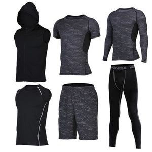 Quick Dry Men's Running 6 piece/set Compression Sports Suits-sportswear-Love My Husband Shop-19-S-Love My Husband Shop