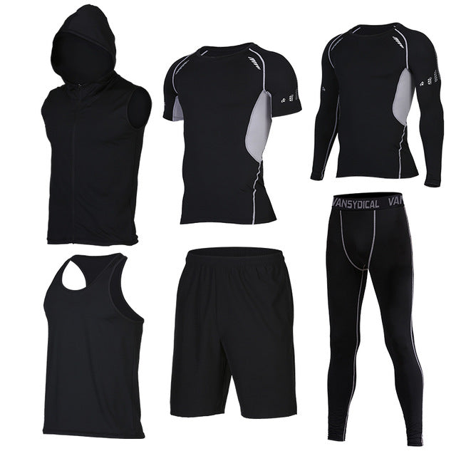 Quick Dry Men's Running 6 piece/set Compression Sports Suits-sportswear-Love My Husband Shop-6-S-Love My Husband Shop