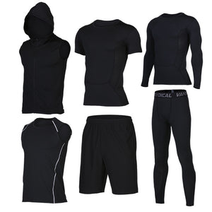Quick Dry Men's Running 6 piece/set Compression Sports Suits-sportswear-Love My Husband Shop-13-S-Love My Husband Shop