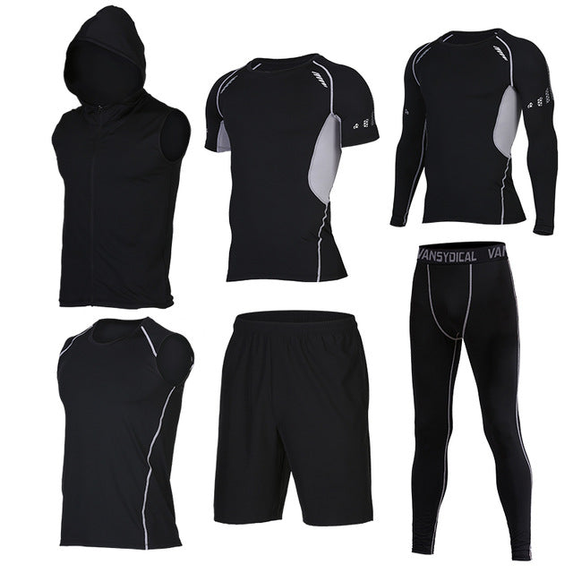 Quick Dry Men's Running 6 piece/set Compression Sports Suits-sportswear-Love My Husband Shop-18-S-Love My Husband Shop