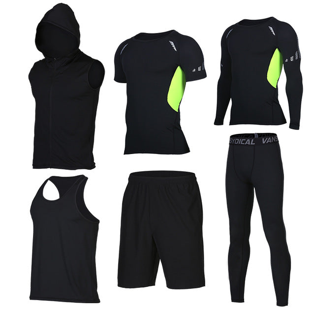Quick Dry Men's Running 6 piece/set Compression Sports Suits-sportswear-Love My Husband Shop-5-S-Love My Husband Shop