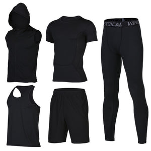 Quick Dry Men's Running 6 piece/set Compression Sports Suits-sportswear-Love My Husband Shop-20-S-Love My Husband Shop