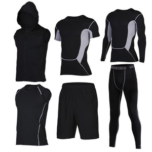 Quick Dry Men's Running 6 piece/set Compression Sports Suits-sportswear-Love My Husband Shop-15-S-Love My Husband Shop