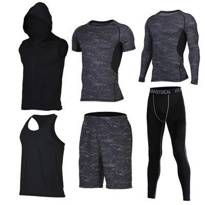 Quick Dry Men's Running 6 piece/set Compression Sports Suits-sportswear-Love My Husband Shop-7-S-Love My Husband Shop