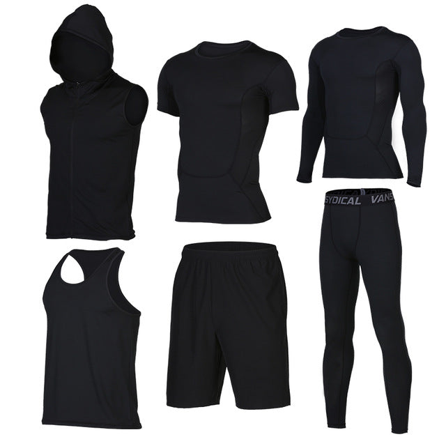 Quick Dry Men's Running 6 piece/set Compression Sports Suits-sportswear-Love My Husband Shop-Love My Husband Shop