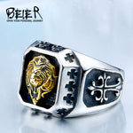 Stainless Steel Plated-Gold Lion Head Rings-ring-Love My Husband Shop-Love My Husband Shop
